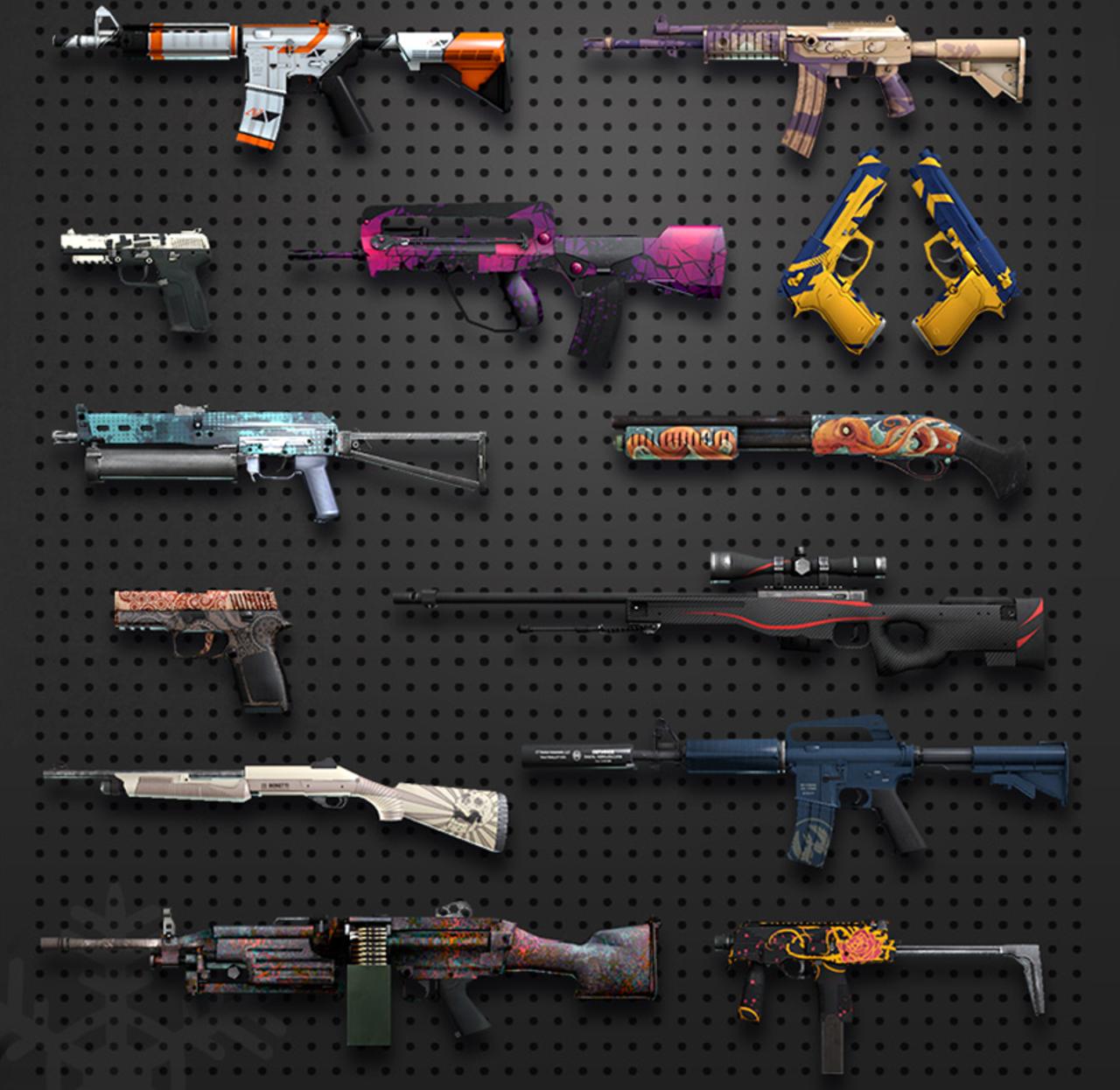 imagen de skins que contiene el interior de una de las tantas cajas que ofrece Counter-Strike: Global Offensive